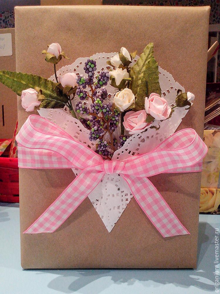 упаковка подарка, крафт, искусственные цветы, мастер-класс, весна, origanium, gift package
