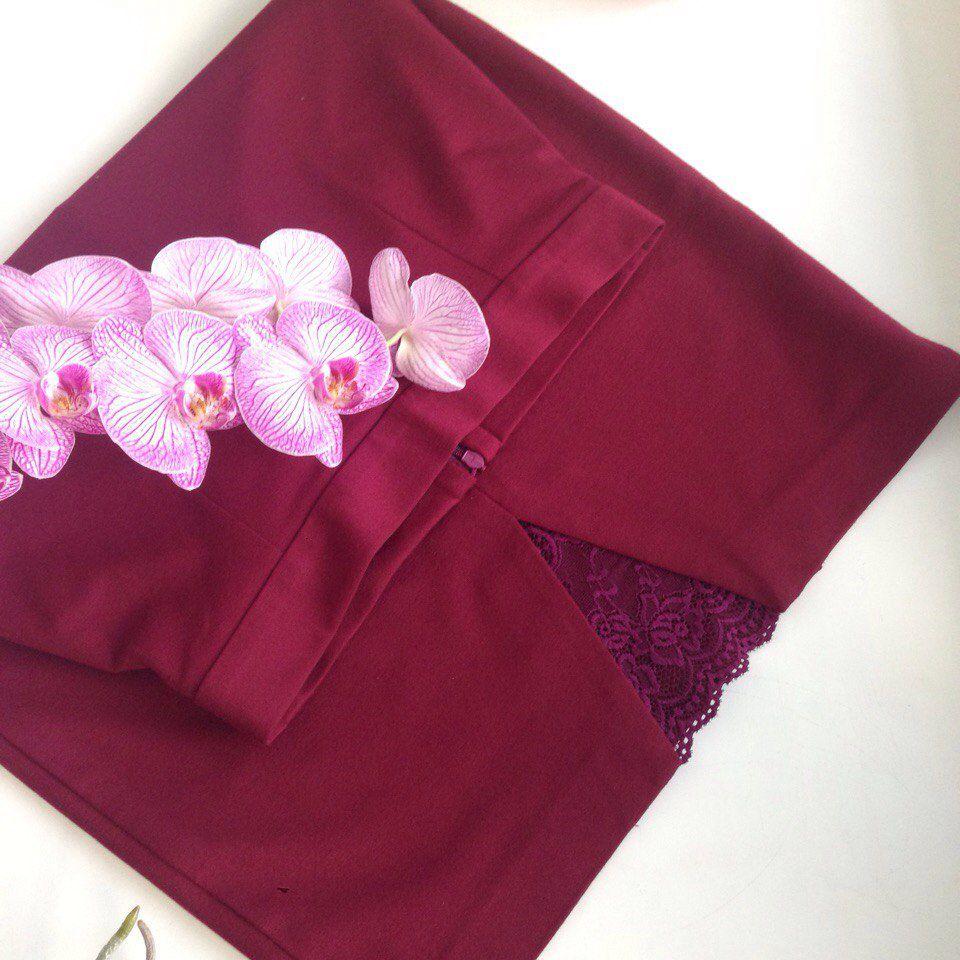 трикотажная юбка, марсала, праздничная юбка, прямая юбка