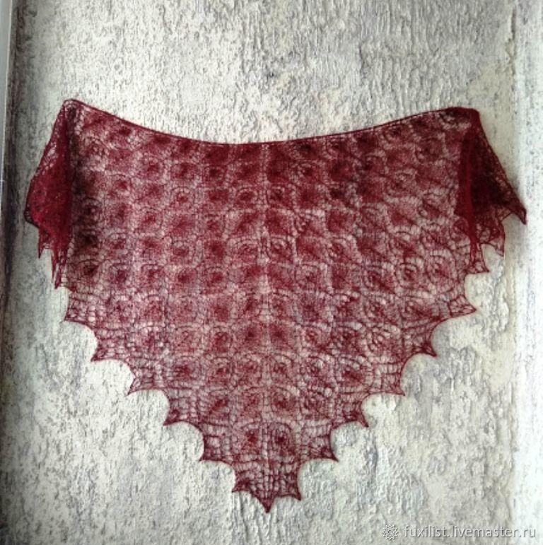красная шаль, шаль из кауни