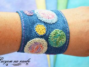 Создаем джинсовый браслет с вышивкой французскими узелками. Ярмарка Мастеров - ручная работа, handmade.
