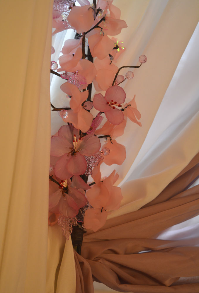 шторы из льна, тюль, шторы для кухни, цветы ручной работы