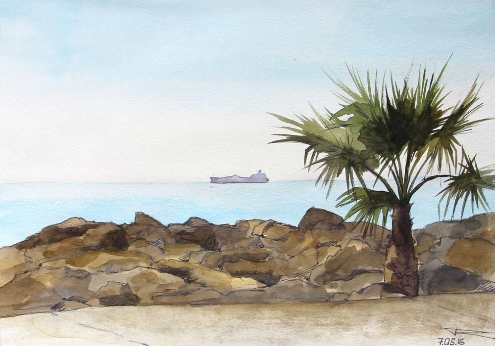распродажа готовых работ, акварельная картина, картина со скидкой, морская волна, лодка