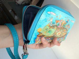 Большой женский кошелёк из экокожи с принтом моих картин.. Ярмарка Мастеров - ручная работа, handmade.