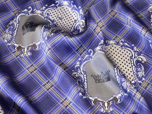 Шелк Vdp атласный стрейч в клеточку короны вензеля Италия бренд. Ярмарка Мастеров - ручная работа, handmade.