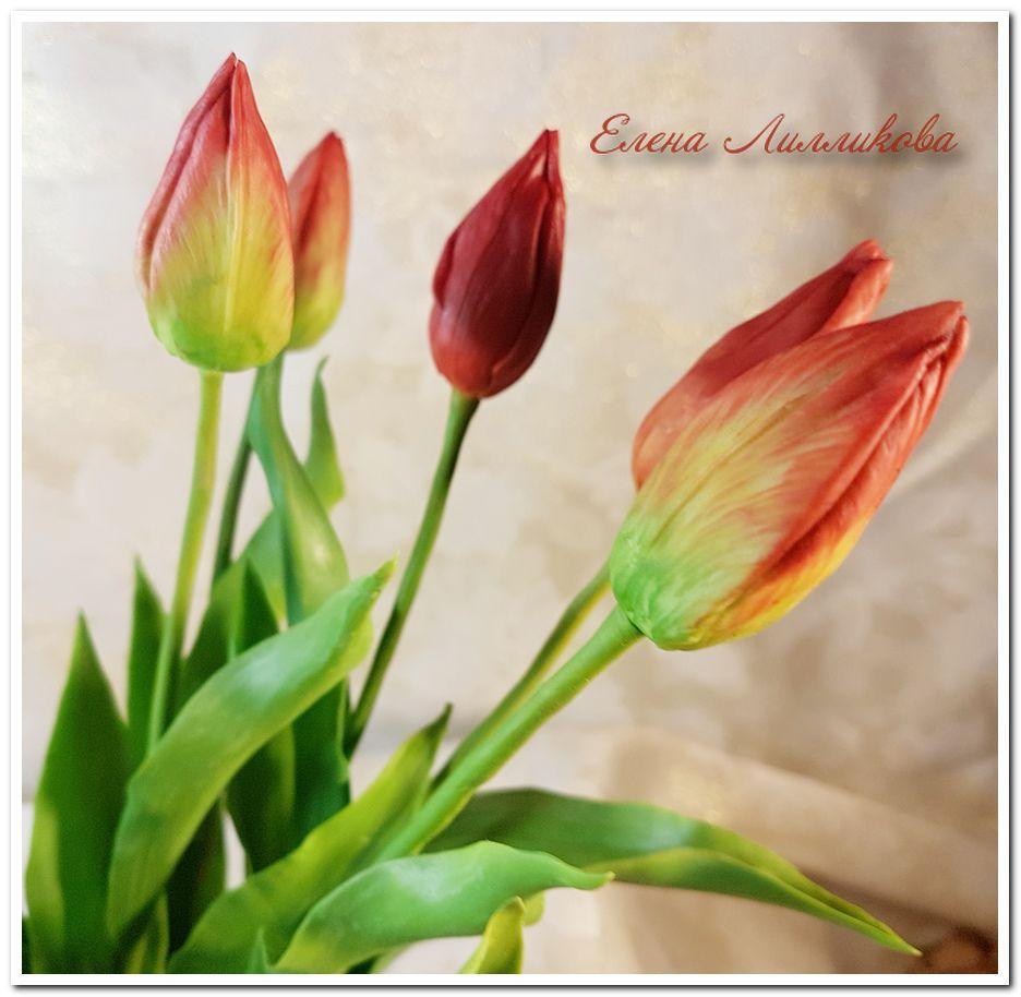 тюльпаны, полимерная глина