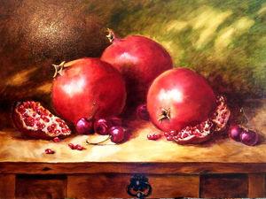 Пишем маслом натюрморт «Гранат с черешней». Ярмарка Мастеров - ручная работа, handmade.