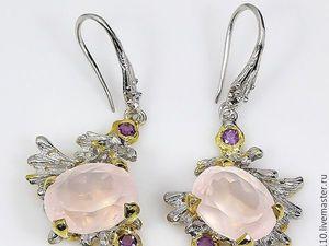 Скидка 20% Серьги  «Розовая Вуаль»  с розовым кварцем и аметистами. Ярмарка Мастеров - ручная работа, handmade.