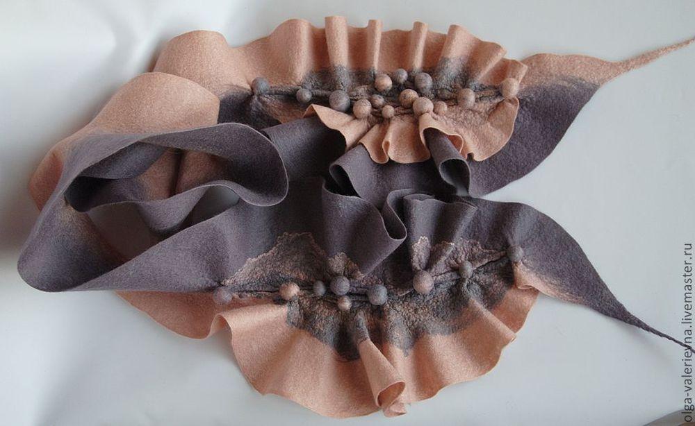 валяный шарф, войлок ручной работы