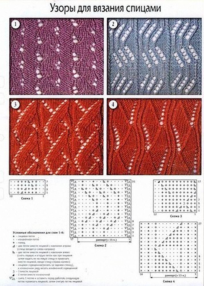 Каталог ажурные узоры спицами схемы