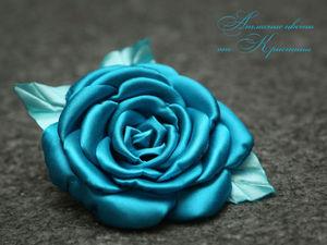 Делаем атласную розу. Ярмарка Мастеров - ручная работа, handmade.