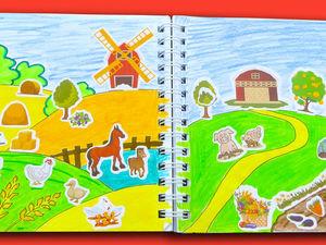 Простой прием как нарисовать природу для темы «Ферма» + клеем наклейки. Ярмарка Мастеров - ручная работа, handmade.