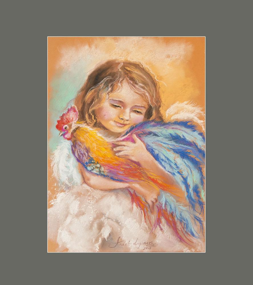 петух картина, картина с птицей, картина пастелью, картина ангел, день святого валентина