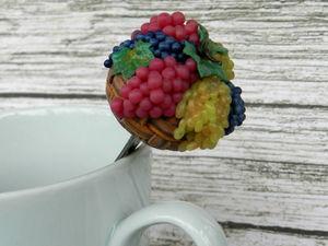 Декорируем ложку полимерной глиной «корзинкой винограда». Ярмарка Мастеров - ручная работа, handmade.