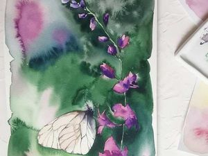 Акварельная бабочка. Ярмарка Мастеров - ручная работа, handmade.