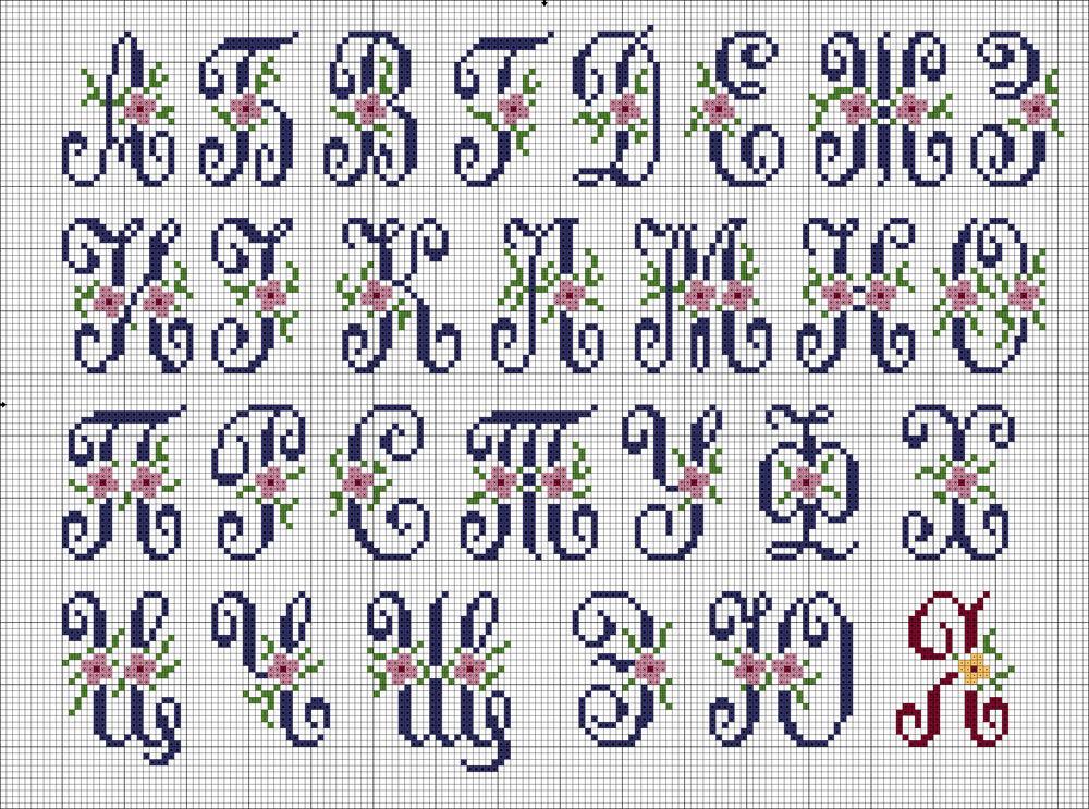 схема вышивки, алфавит, бесплатная схема вышивки
