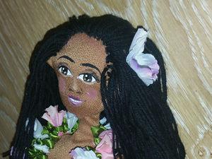 Создание куклы «Гавайская девушка». Часть 3. Волосы. Ярмарка Мастеров - ручная работа, handmade.