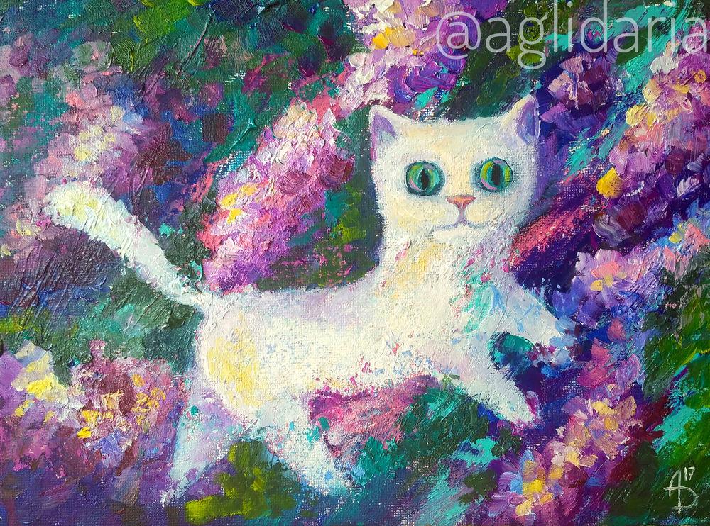 кошка, сказка, сирень, картина, художник
