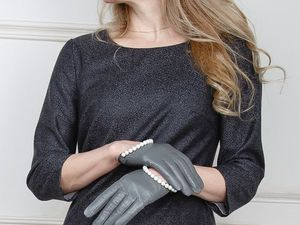 Перчатки женские кожаные украшенные жемчугом Swarovski. Ярмарка Мастеров - ручная работа, handmade.
