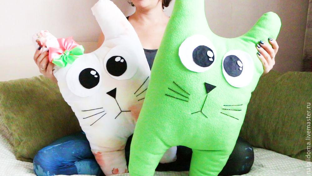 подушка, подушка декоративная, подушка-игрушка, кот, коты