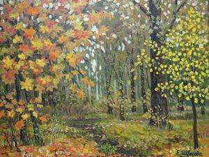 Картина маслом на холсте «Нарядный парк» — 25%  скидка. Ярмарка Мастеров - ручная работа, handmade.