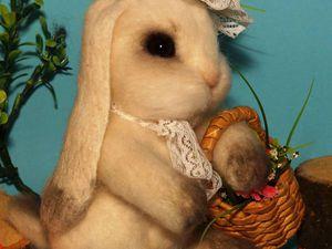 Белый кролик. Сухое Валяние. | Ярмарка Мастеров - ручная работа, handmade