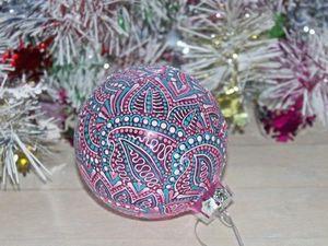 Елочный шар с авторской росписью в подарок!. Ярмарка Мастеров - ручная работа, handmade.