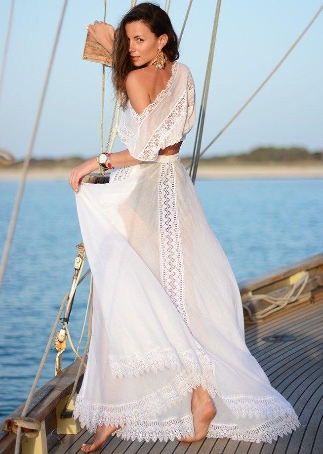 Белое бохо, или Шикарная одежда для королевы летнего пляжа, фото № 51