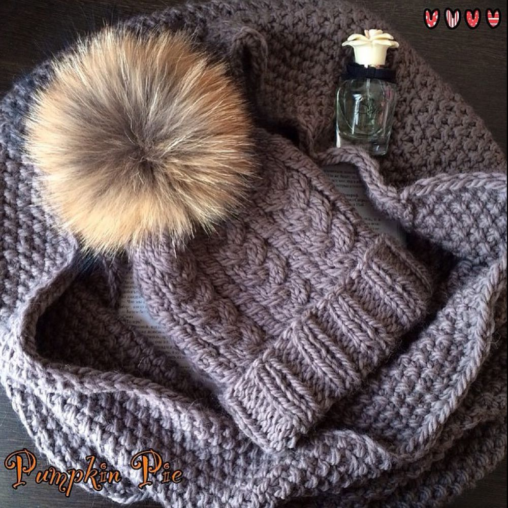 шапка с помпоном, шапка и шарф