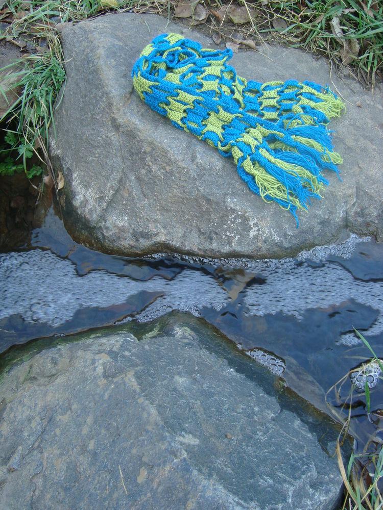 шарф вязаный, необычный шарф, шарф из акрила