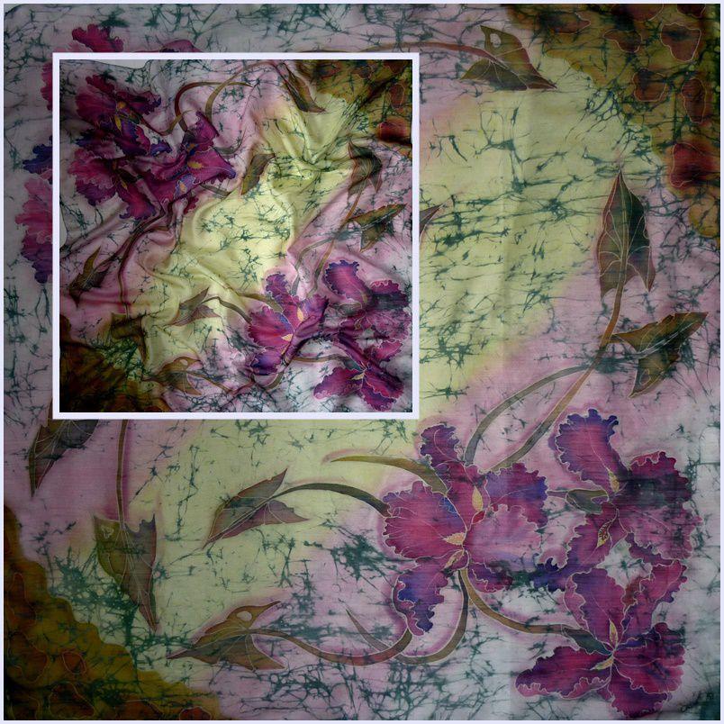 батик платок, винтаж, шёлковый платок, цветы, новинка