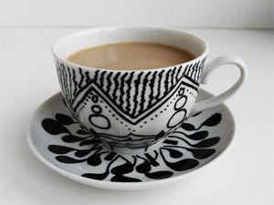 Видеоурок по росписи кофейной пары в стиле зентангл. Ярмарка Мастеров - ручная работа, handmade.