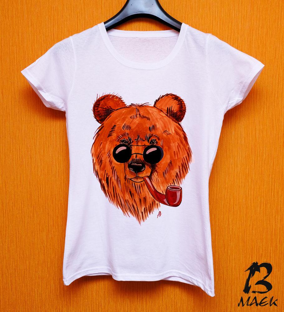 медведь, футболка, очки, принт, одежда, рисунок на ткани, ручная работа, футболка на заказ, футболка с принтом, мишка, круглые очки, трубка, коричневый, яркий, цветной, бурый, рисунок ручной работы, работа на заказ, магазин, футболка женская