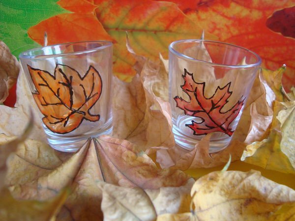Простой МК : как нарисовать листья на стеклянных стопках   Ярмарка Мастеров - ручная работа, handmade
