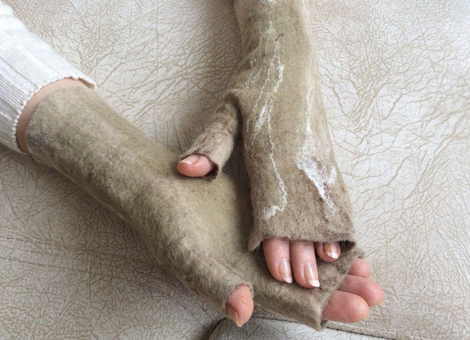 митенки из шерсти
