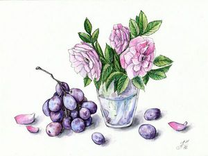 Рисуем шиповник и виноград акварелью и линерами. Ярмарка Мастеров - ручная работа, handmade.