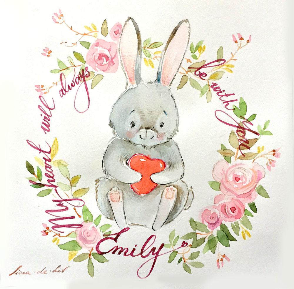 детская комната, картины в подарок, детская, картины для детской, живопись, персональный заказ, персонализация, подарок на день рождения, подарок, для детей, для девочки, для ребенка, живопись акварелью, картина в подарок, зайчик, кролик