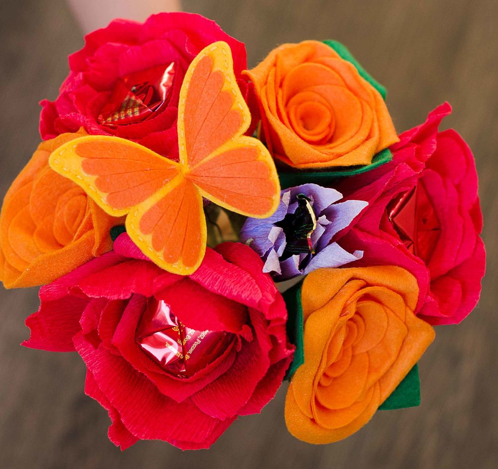 конфетный букет, учителю, цветы