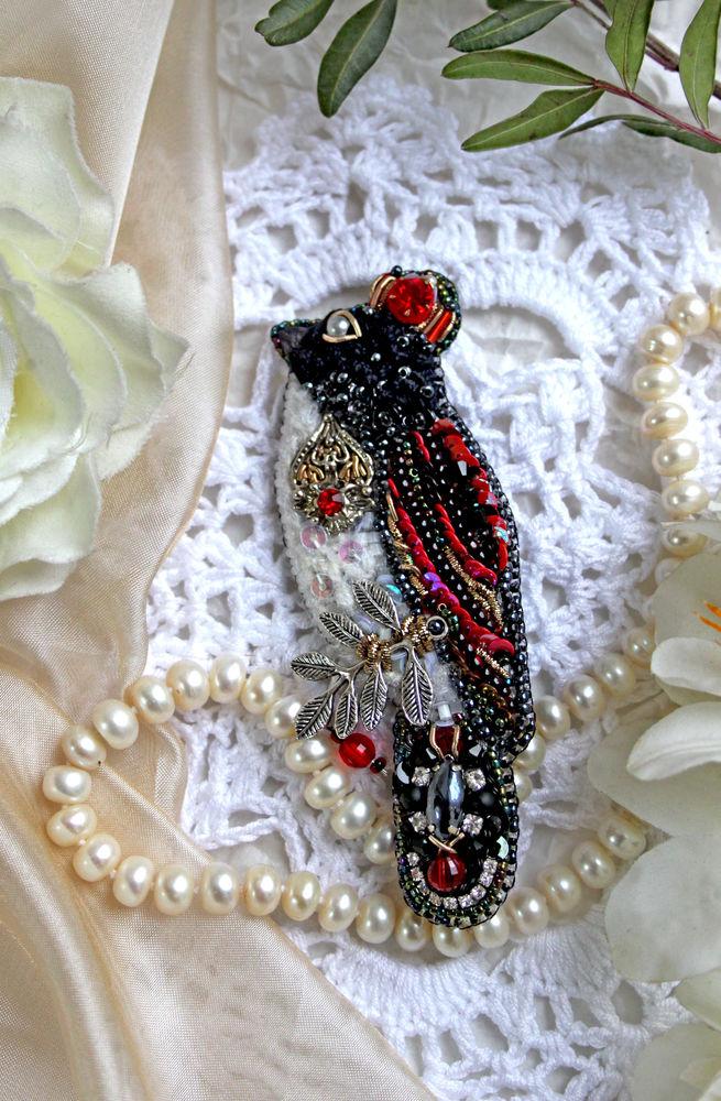 птица, вышивка бисером, красно-черный