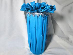 Как сделать шикарную вазу из ткани и бутылки. Ярмарка Мастеров - ручная работа, handmade.