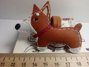 собака мини брелок кожа. Ярмарка Мастеров - ручная работа, handmade.