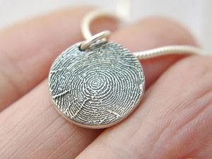Серебряный кулон с Вашим отпечатком пальца | Ярмарка Мастеров - ручная работа, handmade