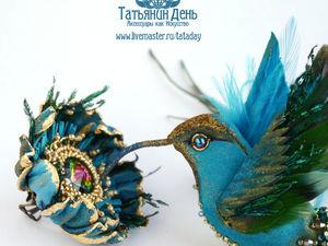 Новый комплект  «Колибри и цветок»  брошь-птица и кольцо. Ярмарка Мастеров - ручная работа, handmade.