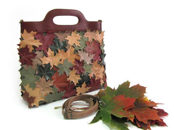 Шьем сумку-пакет из кожи и ткани «Листопад»   Ярмарка Мастеров - ручная работа, handmade