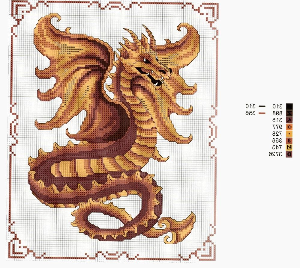 Вышивка гладью схемы драконы