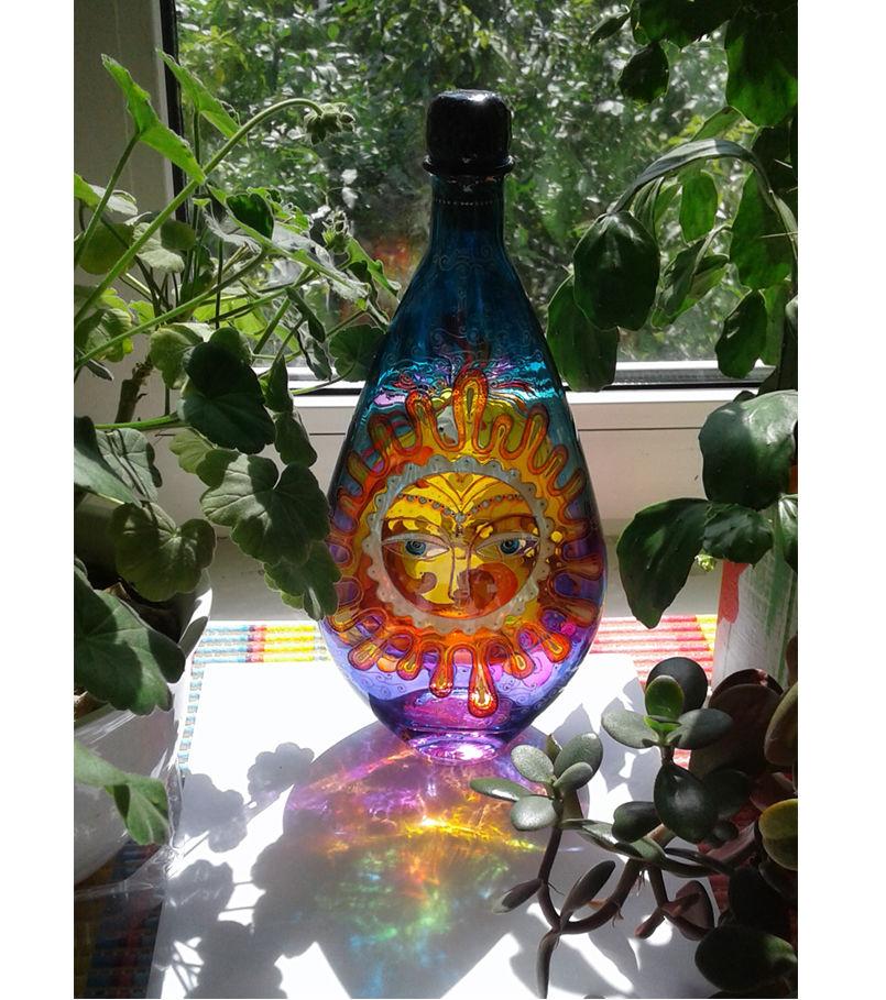 батик на стекле, витраж и солнце, бутылка с витражом