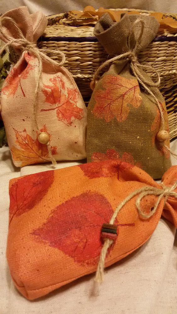 льняной мешочек, саше, упаковка для подарка, упаковка для украшений, осенние листья, ручная набойка, лён натуральный