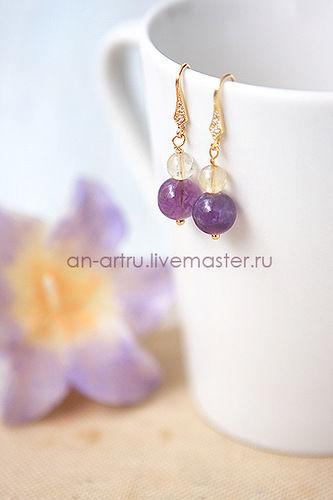 фиолетовый, комплект браслет серьги