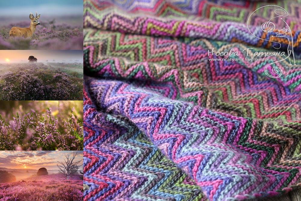 вереск, вязанные вещи, оригинальный шарф