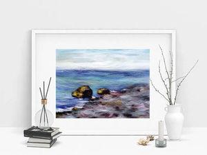 Рисуем морской пейзаж шерстью. Ярмарка Мастеров - ручная работа, handmade.