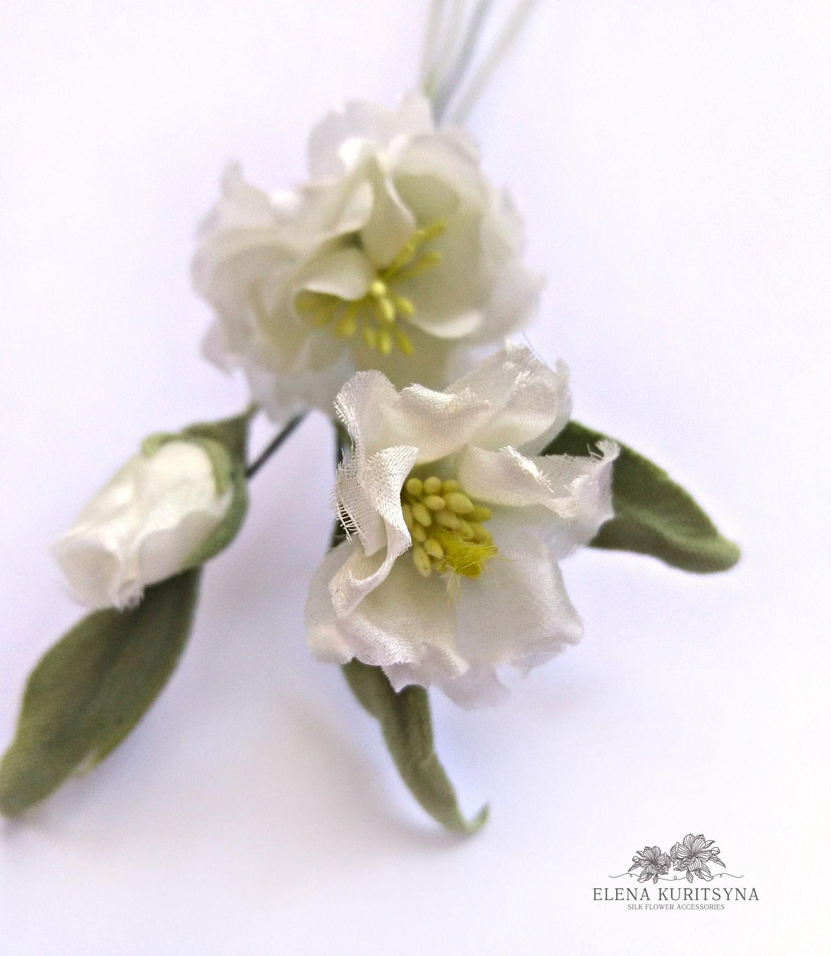 Создаем свадебный аксессуар цветочки «Флёри» из шелка, фото № 2